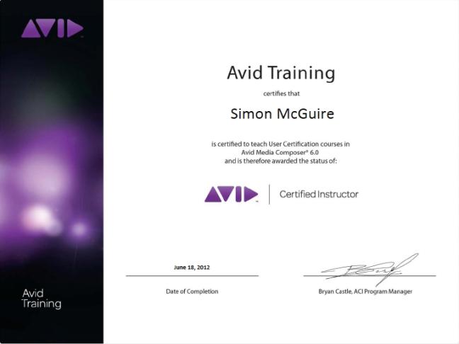 Avid Media Composer 6 Certified Instructor
