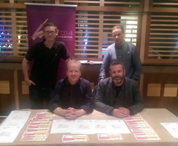 Ronan Cassidy, Tommy Conlon, Mark Griffin and Simon at the Film Limerick Stand.