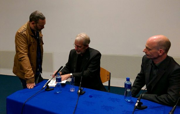 Simon meeting Walter Murch in Galway (may 2015). Editor Declan McGrath also pictured.