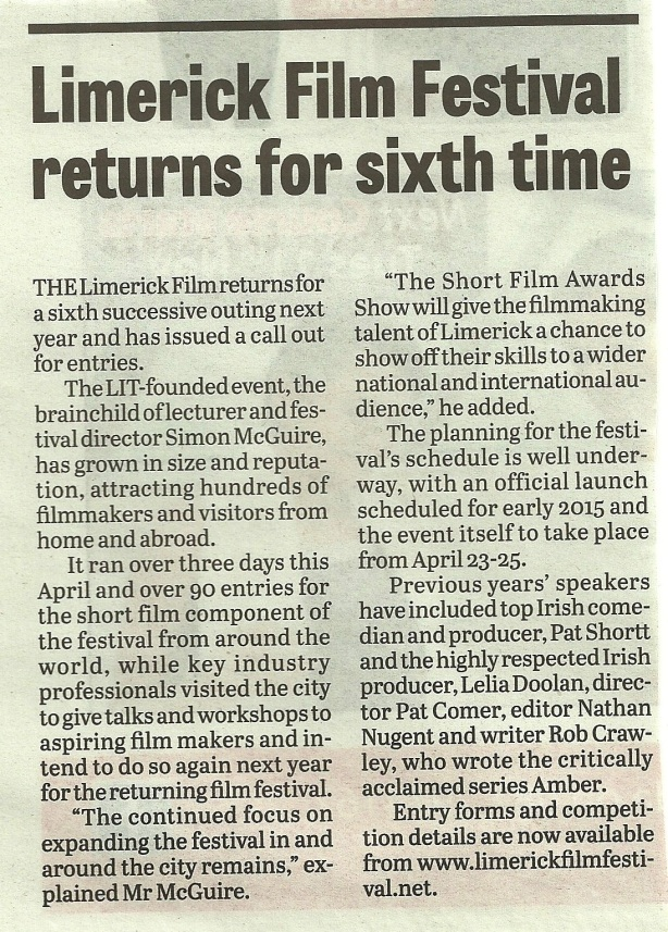 Limerick Chronicle Nov 2014