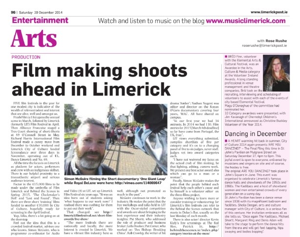 Limerick Post Article 20th Dec 2014